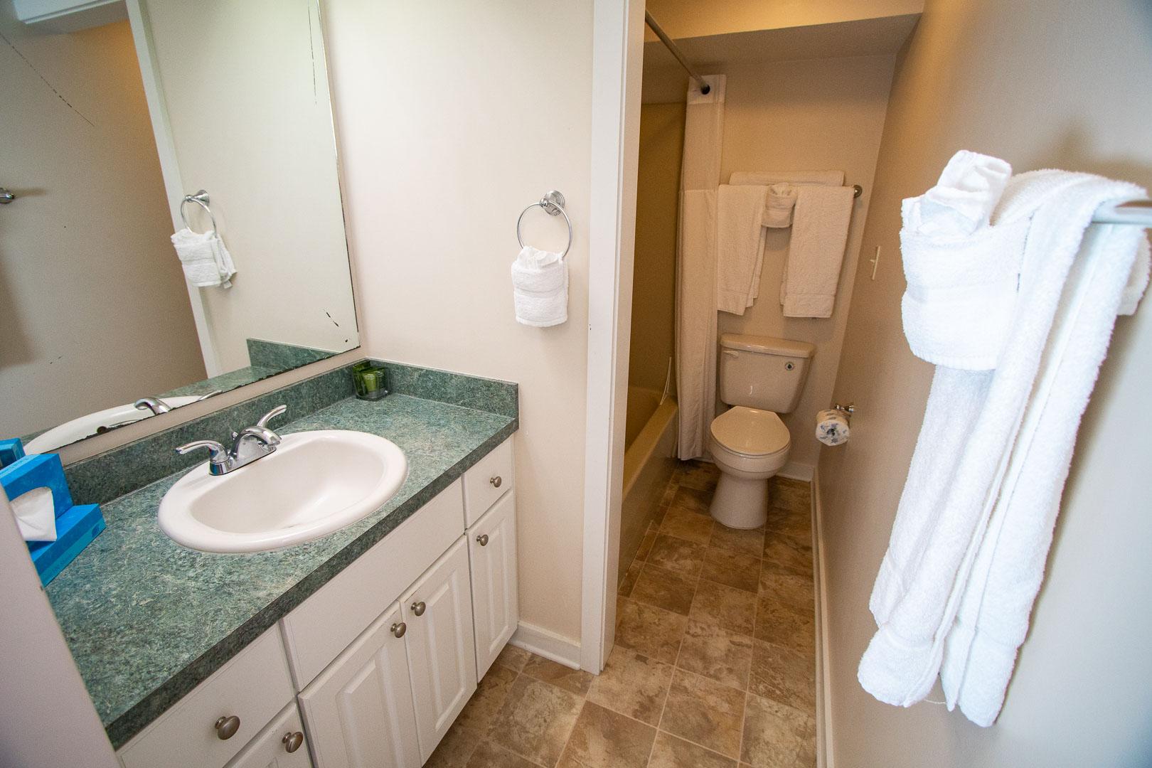 A clean bathroom at VRI's Sandcastle Village in New Bern, North Carolina.