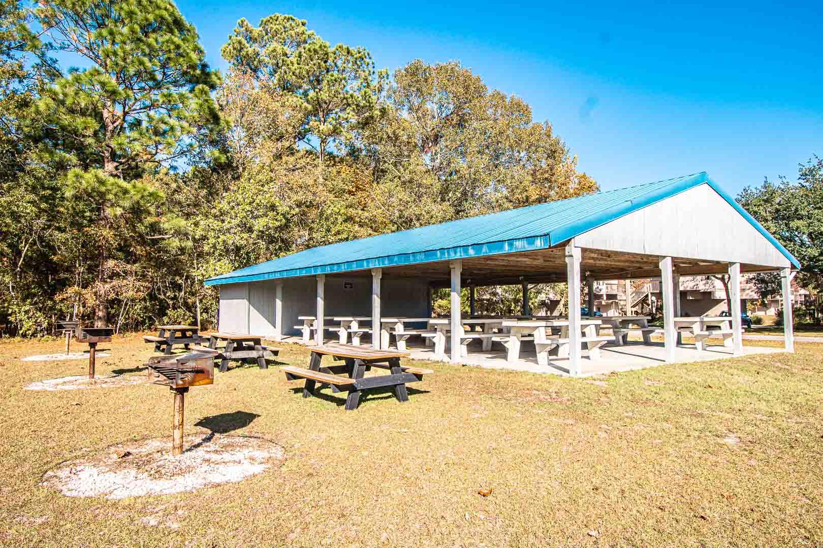 Outside picnic areas at VRI's Sandcastle Village in New Bern, North Carolina.