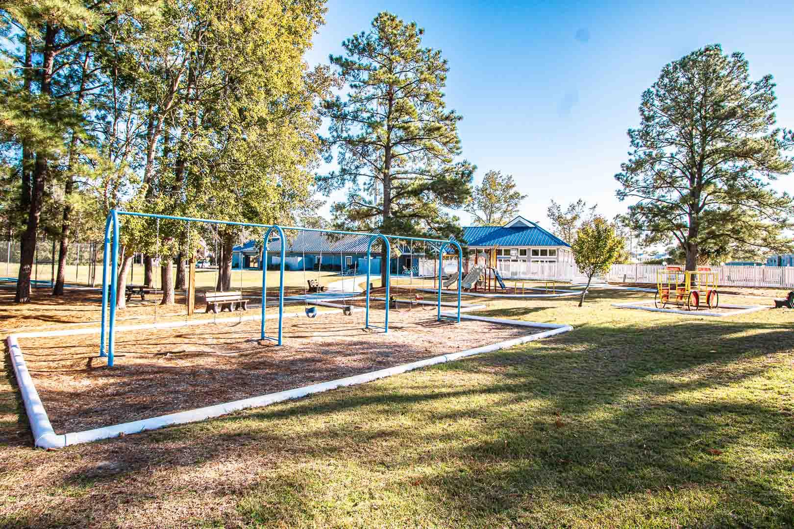 An outdoor children's playground at VRI's Sandcastle Village in New Bern, North Carolina.