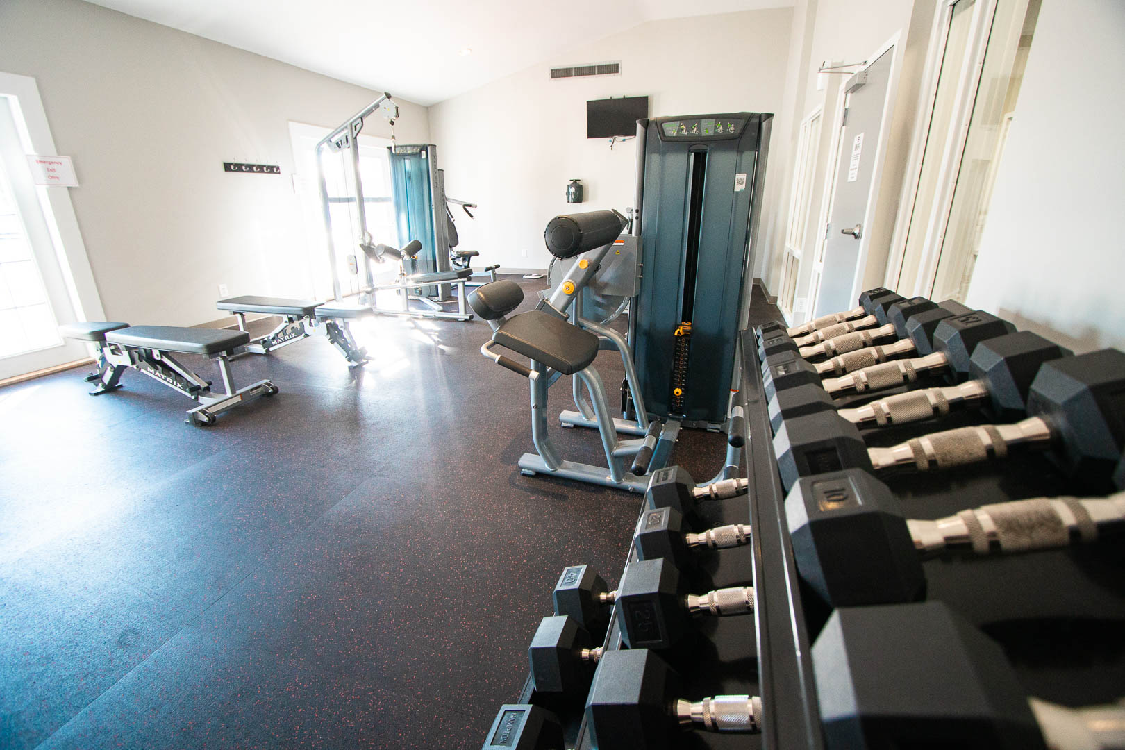 A full equipped exercise room  at VRI's Sandcastle Village in New Bern, North Carolina.