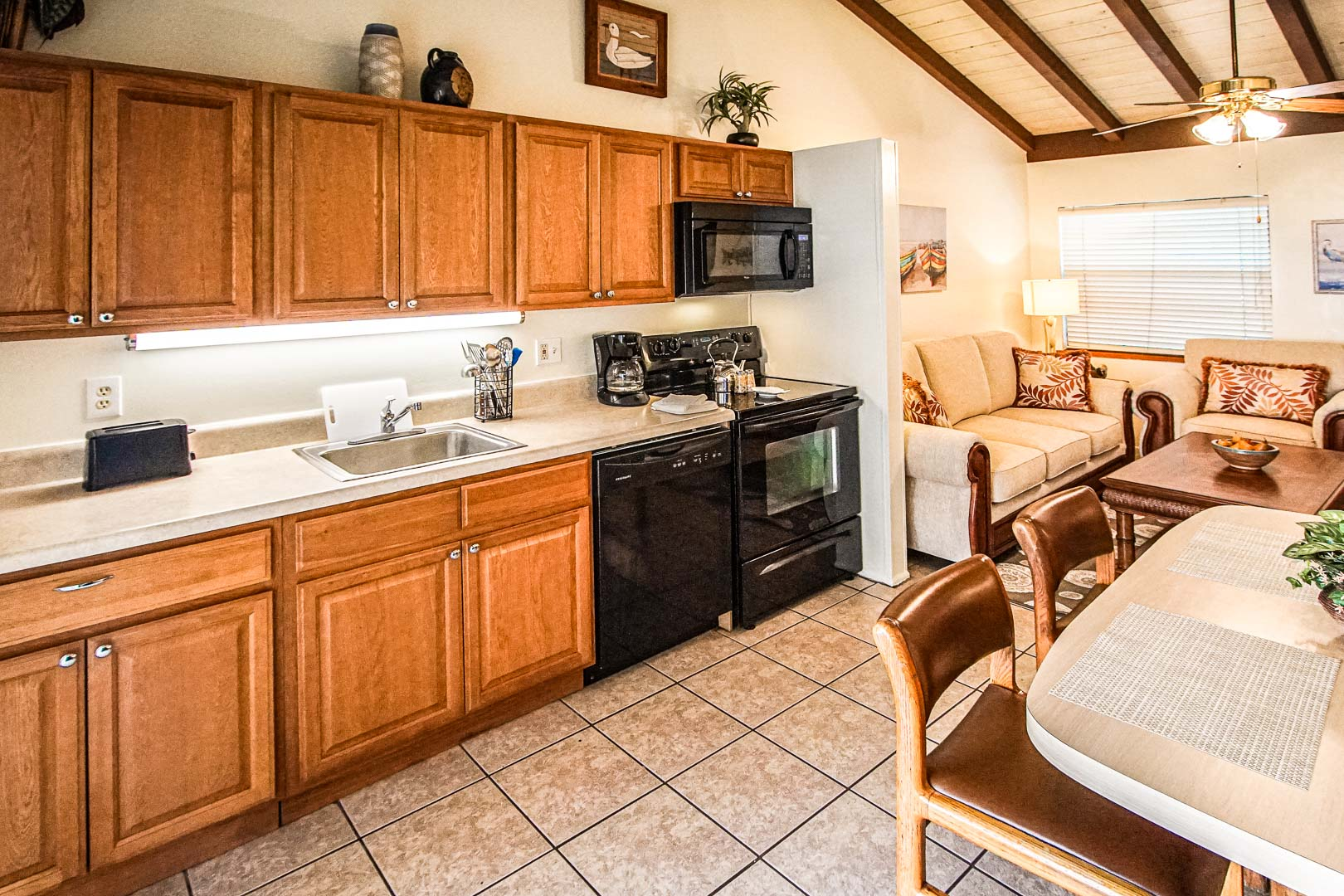 An expansive kitchen area at VRI's Sand Dune Shores in Florida.