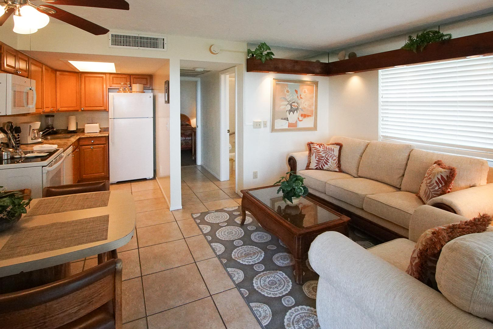 A spacious living room area at VRI's Sand Dune Shores in Florida.