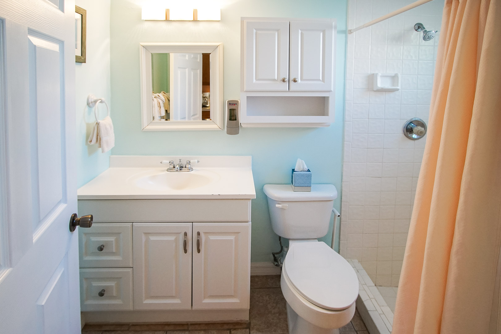 A clean bathroom at VRI's Sand Dune Shores in Florida.