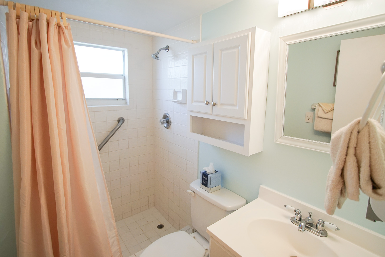 An airy bathroom at VRI's Sand Dune Shores in Florida.