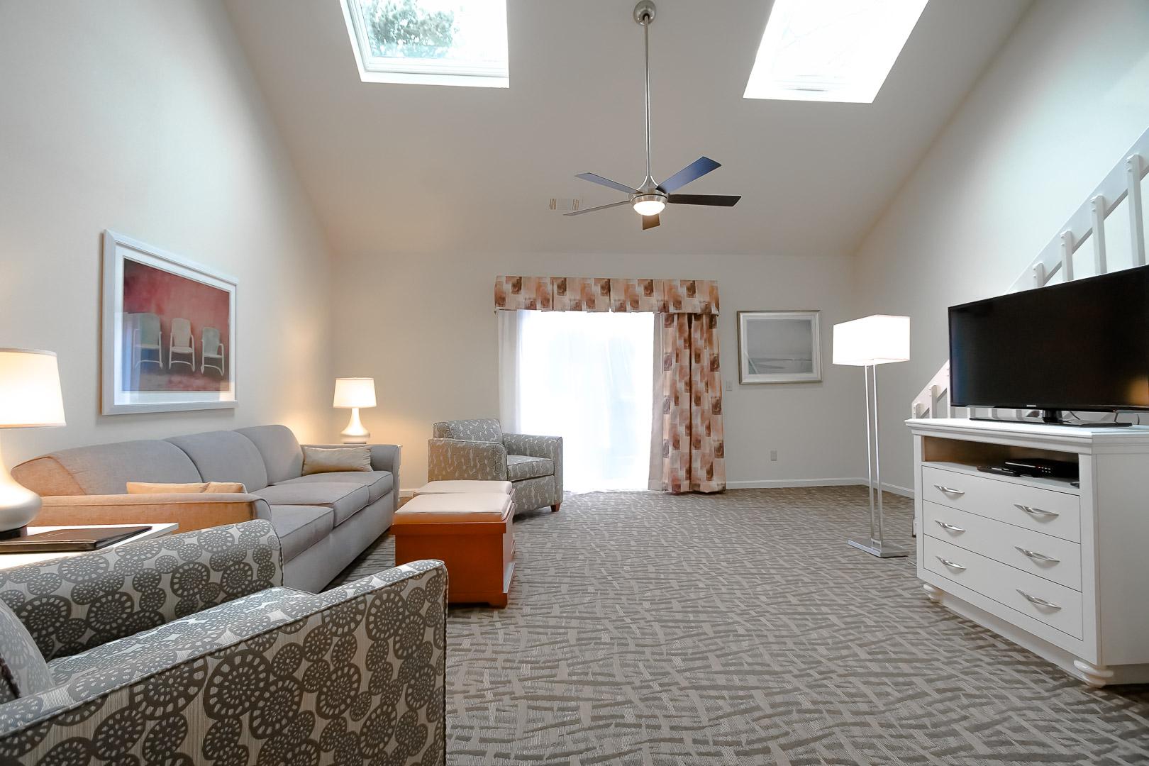 A spacious living room area at VRI's Sea Mist Resort in Massachusetts.