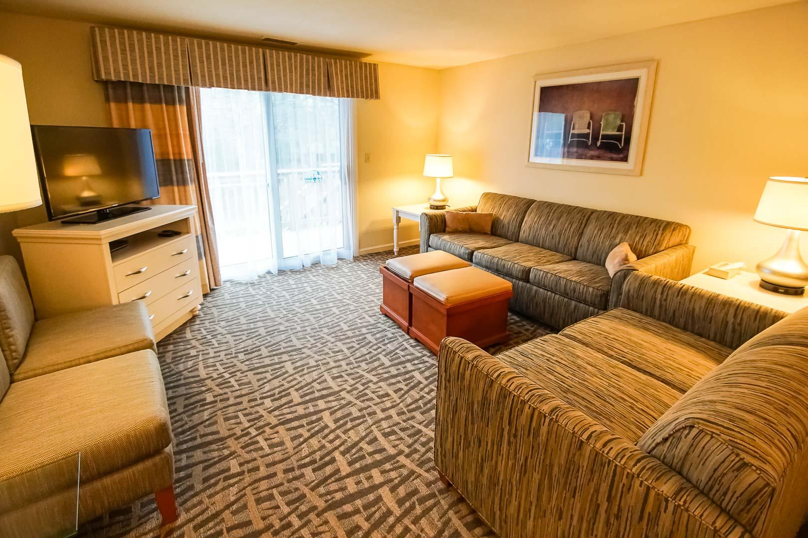 A cozy living room area at VRI's Sea Mist Resort in Massachusetts.
