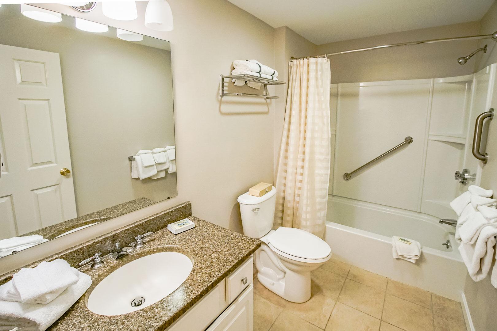 A clean bathroom room at VRI's Sea Mist Resort in Massachusetts.