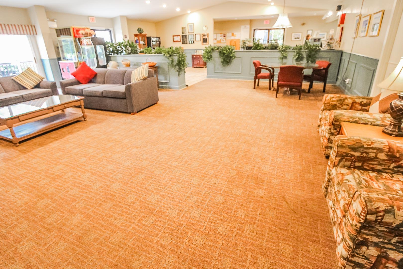 A welcoming resort lobby at VRI's Sea Mist Resort in Massachusetts.