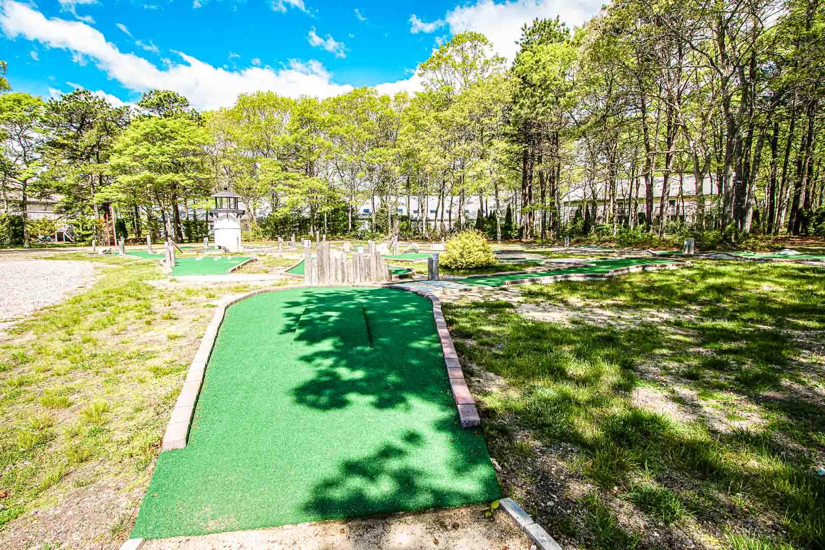 A beautiful outside miniture golf area at VRI's Sea Mist Resort in Massachusetts.