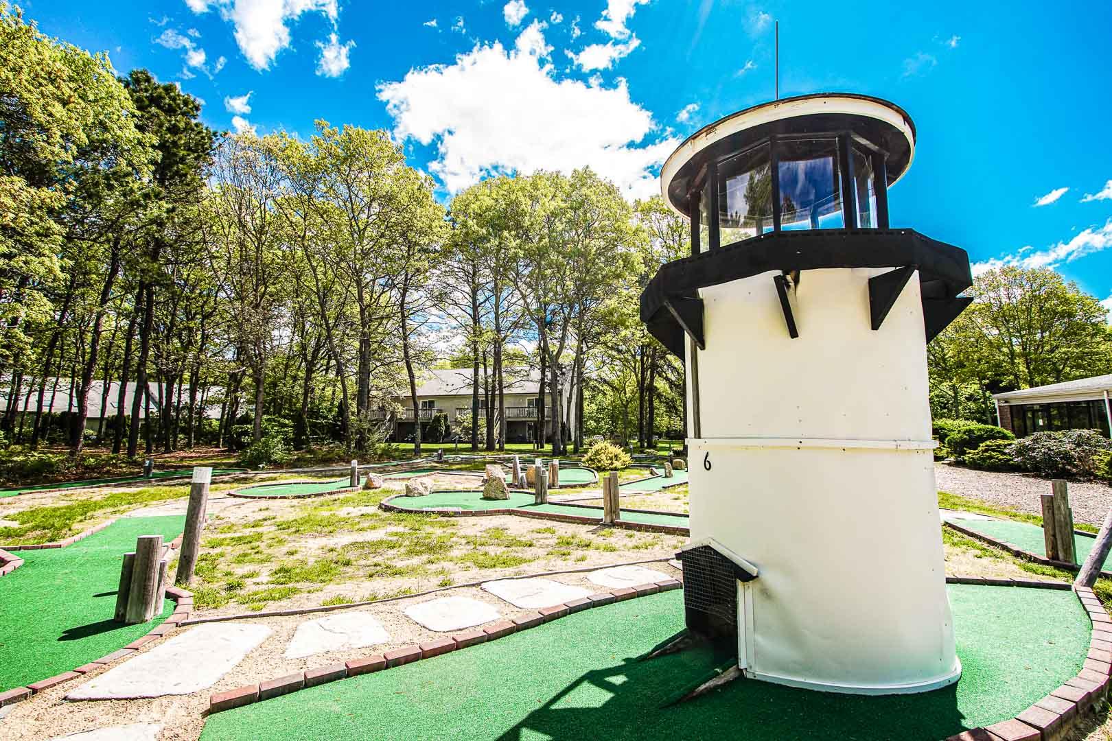 Outside miniature golf amenity at VRI's Sea Mist Resort in Massachusetts.