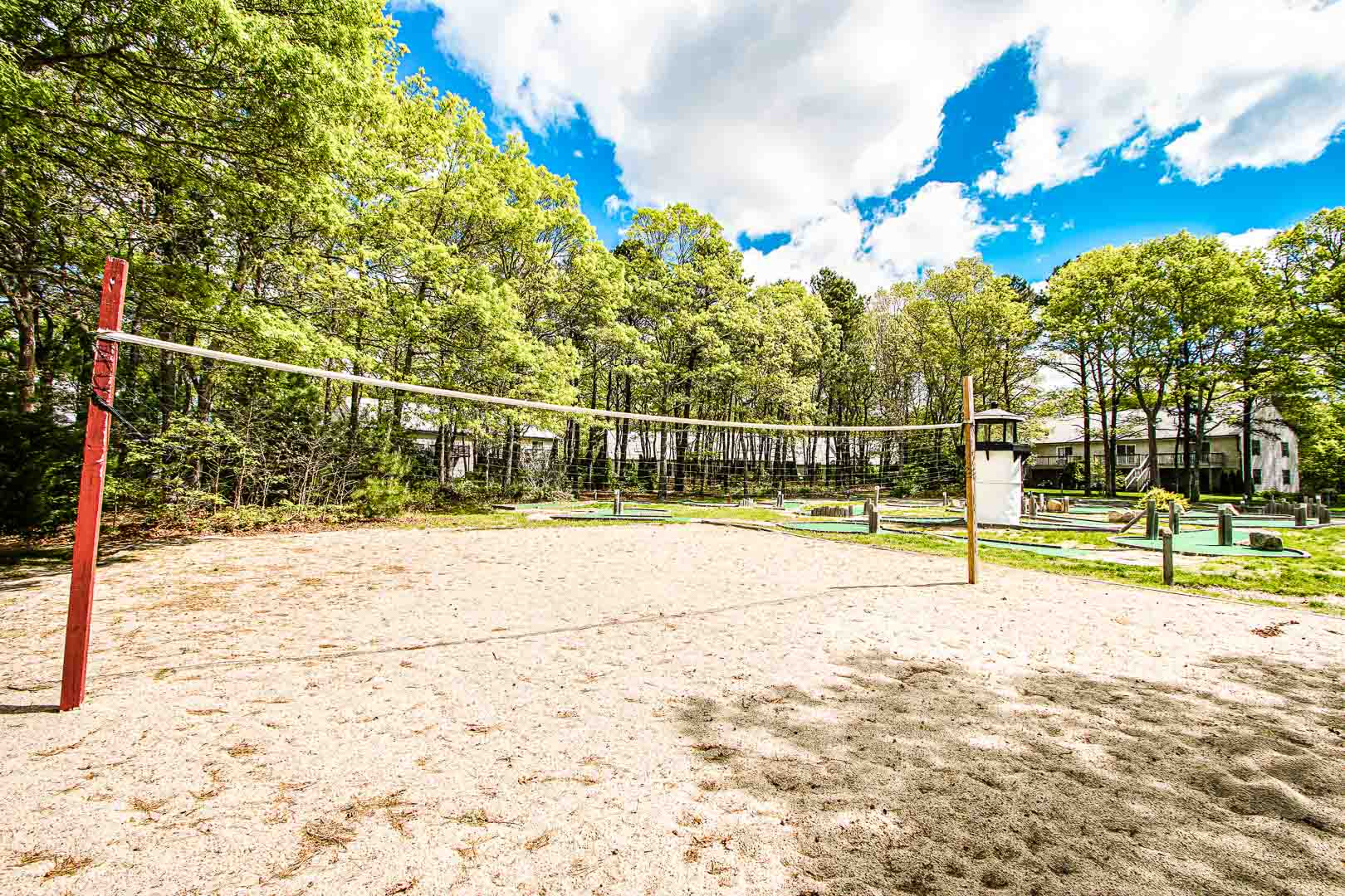 A stoic view of a volleyball area at VRI's Sea Mist Resort in Massachusetts.