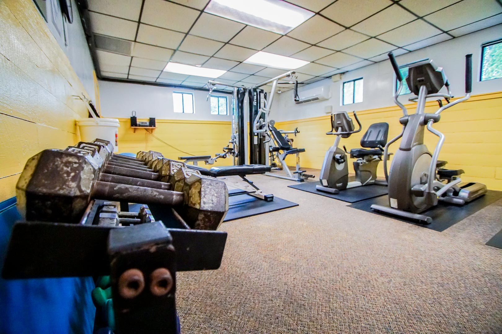 Resort amenities such as an exercise room available at VRI's Sea Mist Resort in Massachusetts.