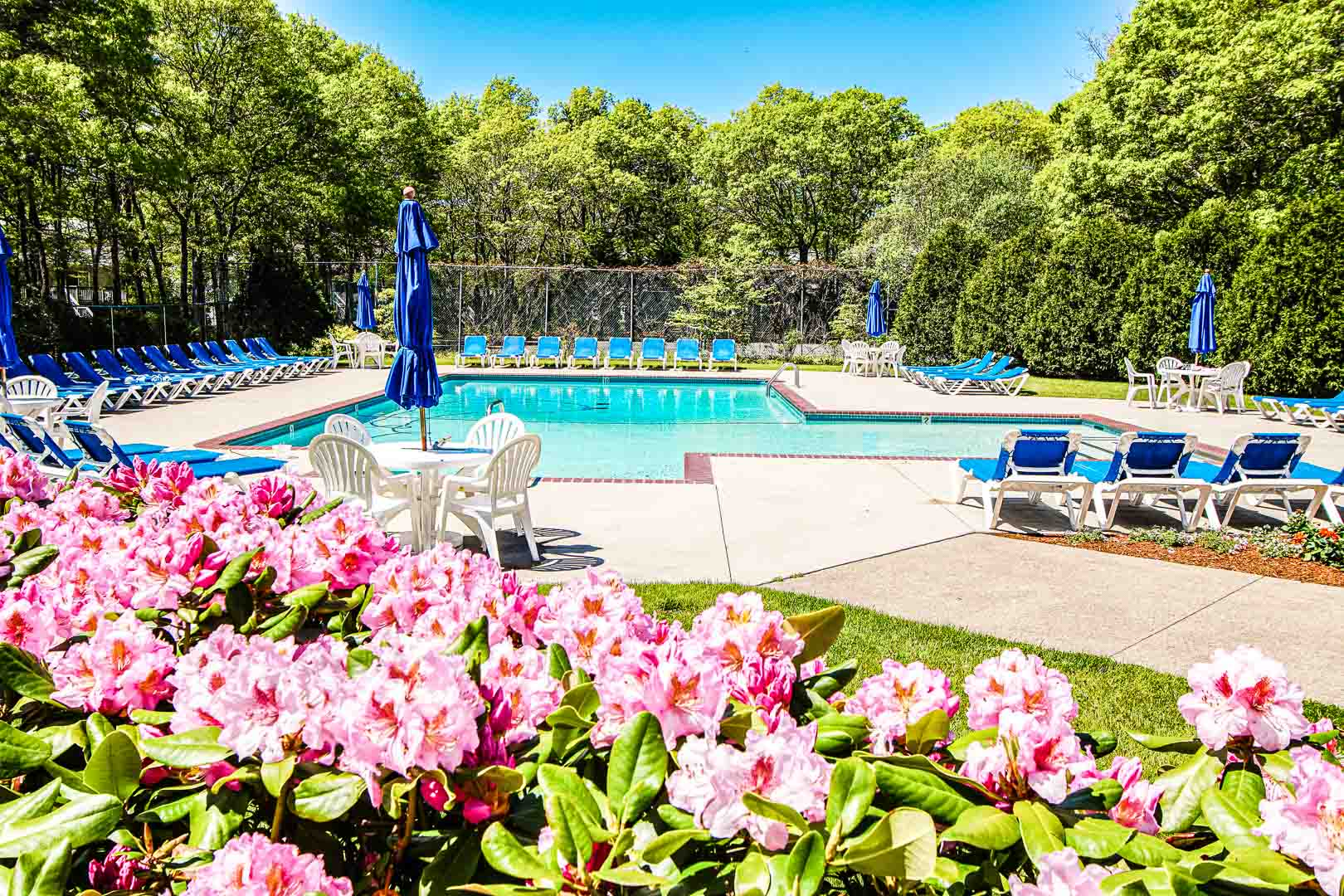 A beautiful view of the outdoor swimming pool at VRI's Sea Mist Resort in Massachusetts.