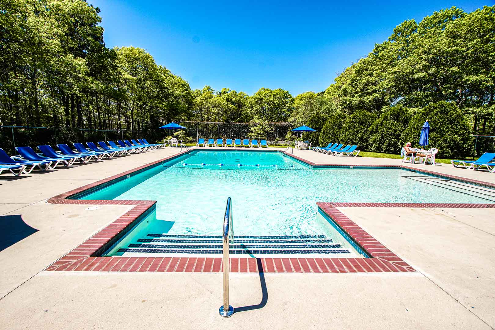 An expansive view of the outdoor swimming pool at VRI's Sea Mist Resort in Massachusetts.