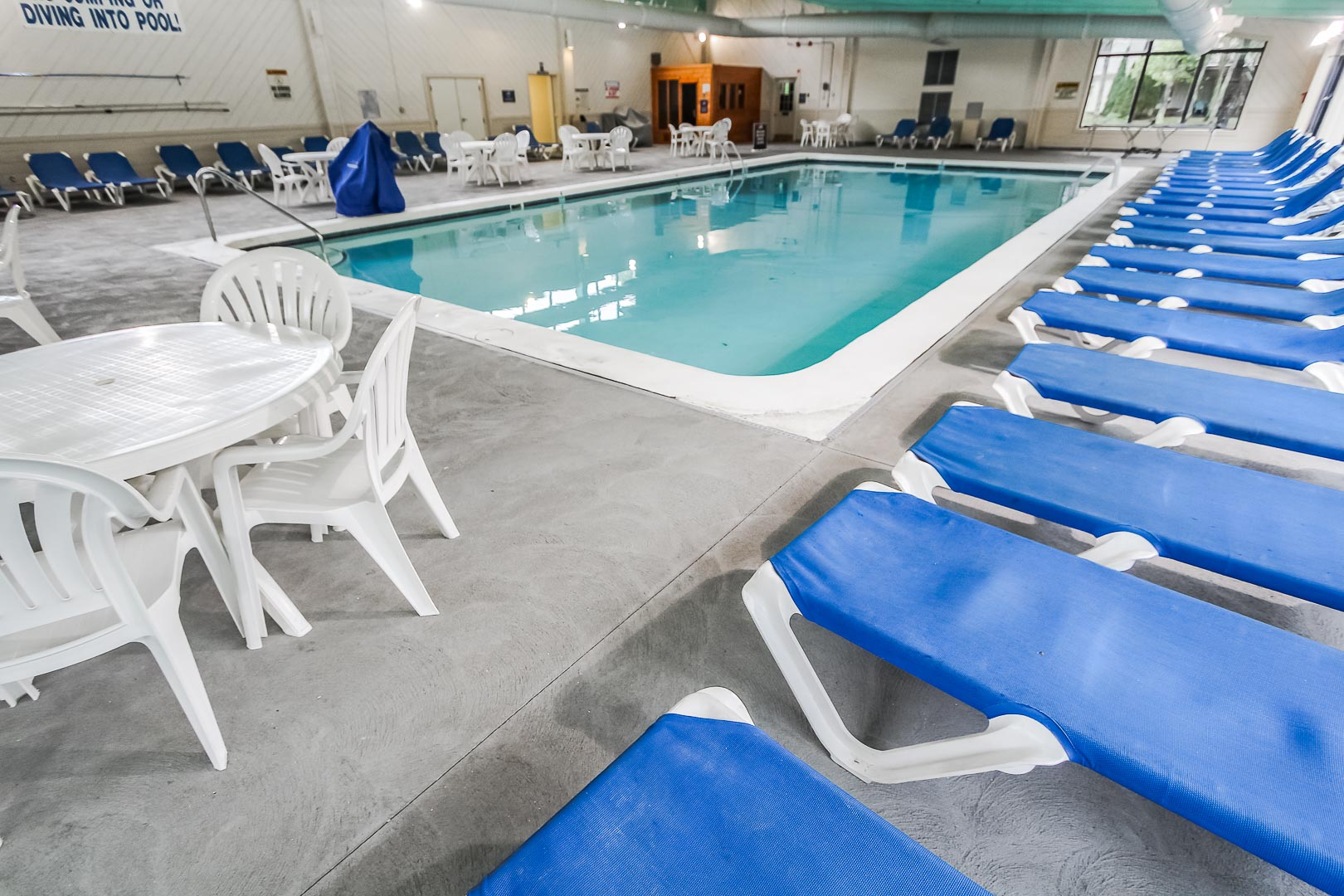 A quaint indoor swimming pool at VRI's Sea Mist Resort in Massachusetts.