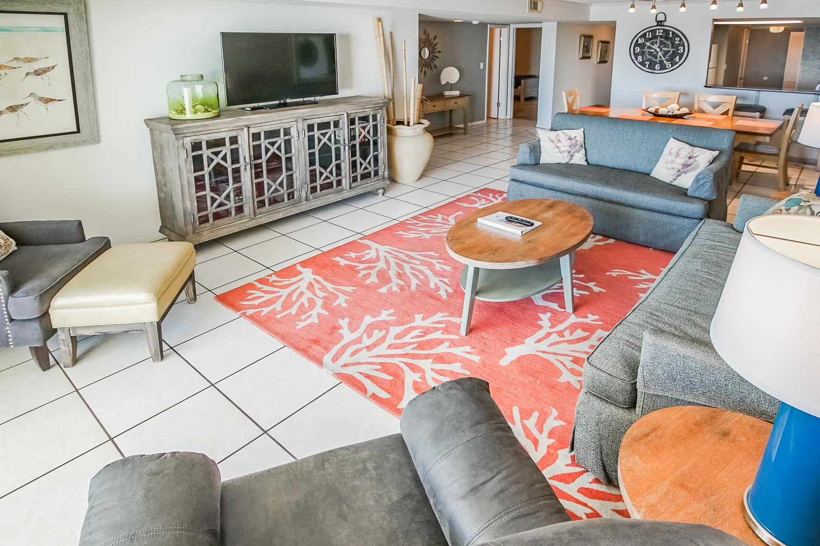 A spacious living room area at VRI's Shoreline Towers in Gulf Shores, Alabama.