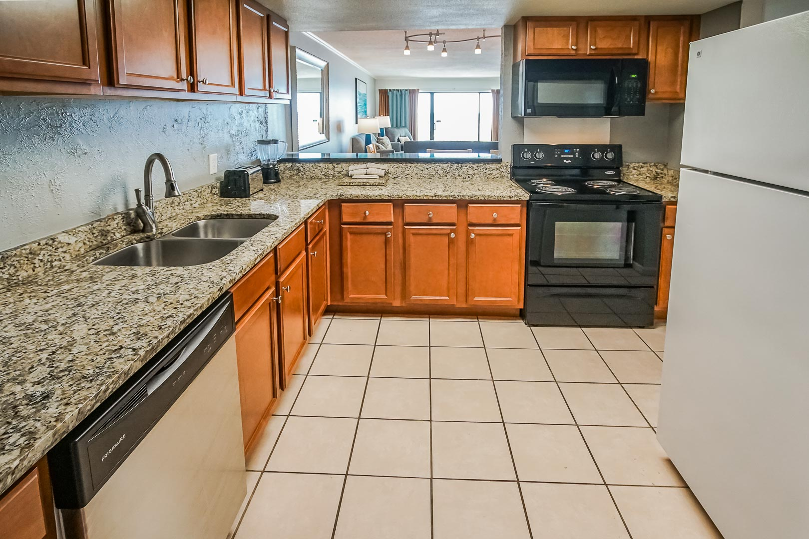 A fully equipped kitchen at VRI's Shoreline Towers in Gulf Shores, Alabama.