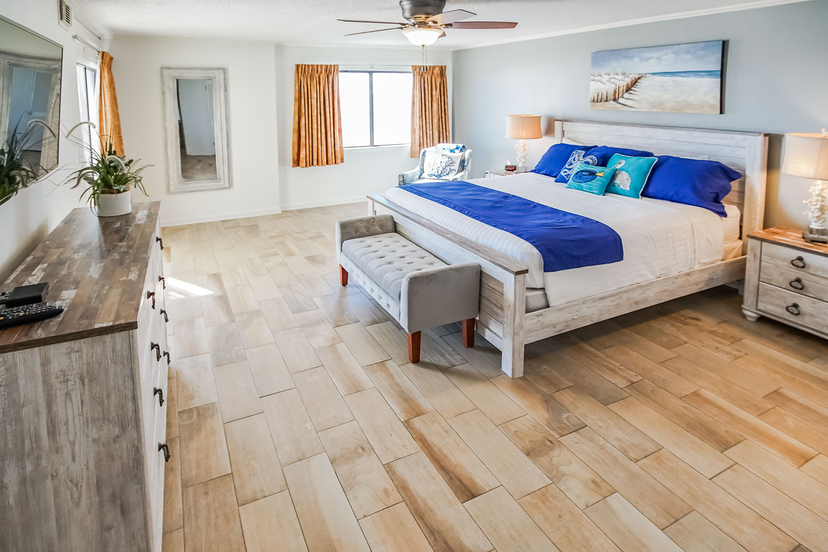 An airy master bedroom at VRI's Shoreline Towers in Gulf Shores, Alabama.