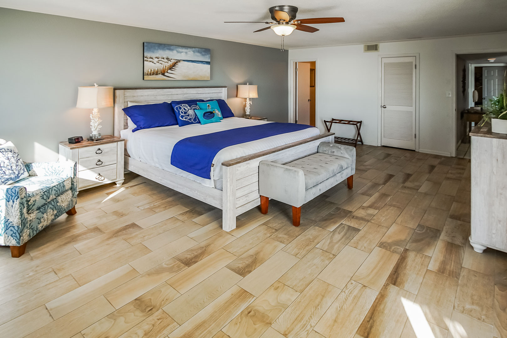 A spacious master bedroom at VRI's Shoreline Towers in Gulf Shores, Alabama.