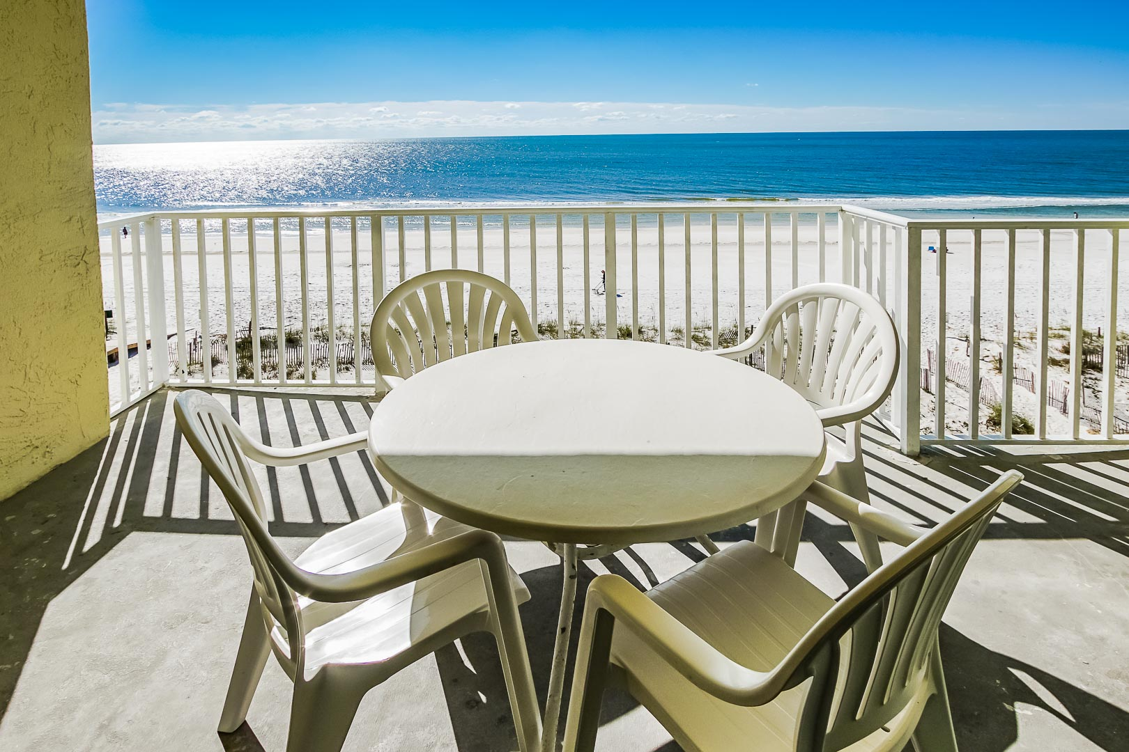 A beautiful view of the beach from the balcony at VRI's Shoreline Towers in Gulf Shores, Alabama.
