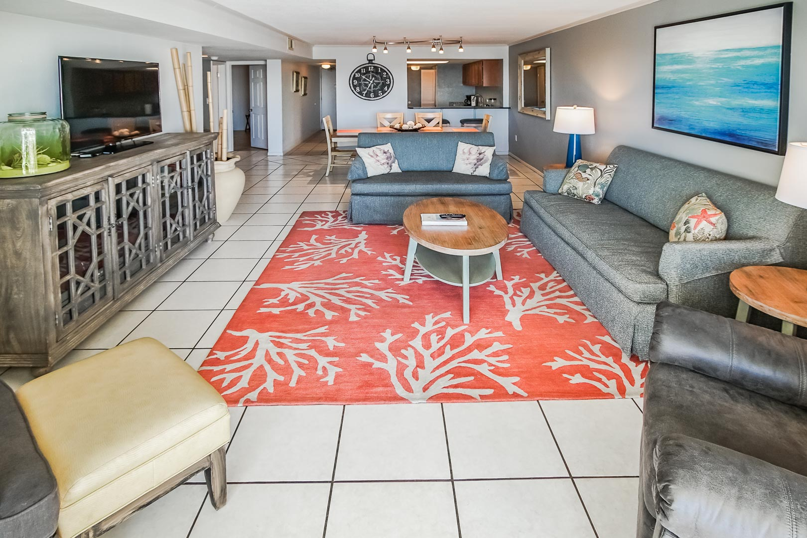 An airy living room at VRI's Shoreline Towers in Gulf Shores, Alabama.
