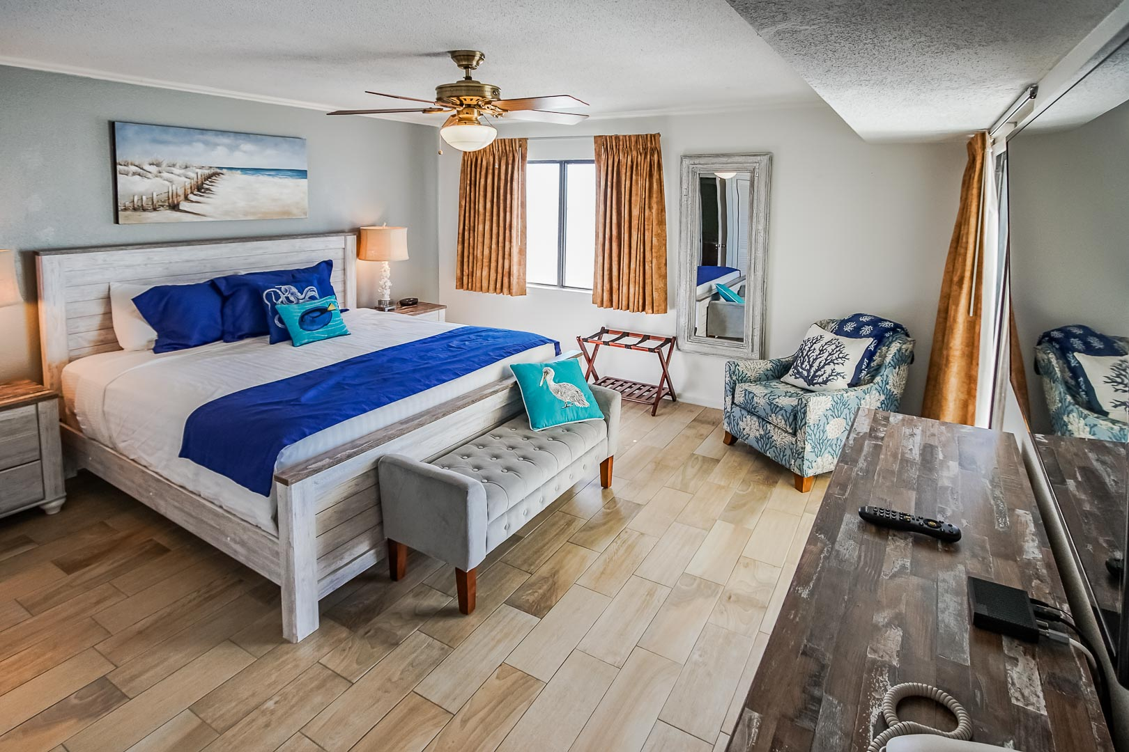 A renovated master bedroom at VRI's Shoreline Towers in Gulf Shores, Alabama.