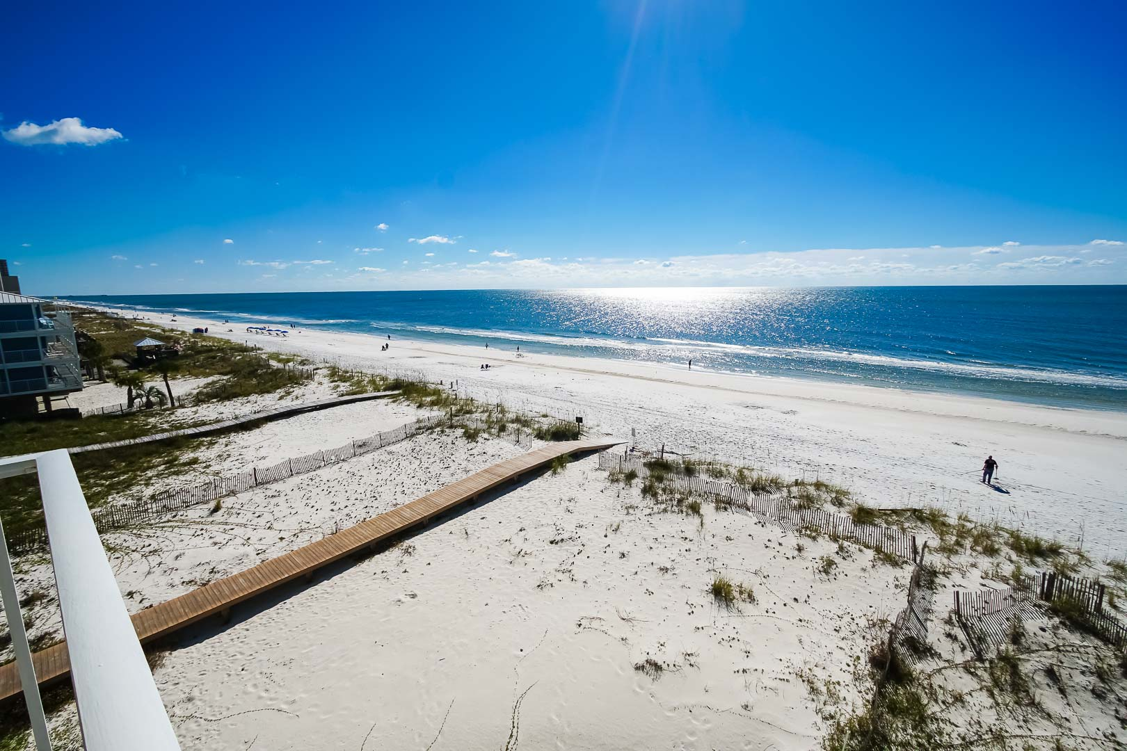 A scenic view at the beach at VRI's Shoreline Towers in Gulf Shores, Alabama.