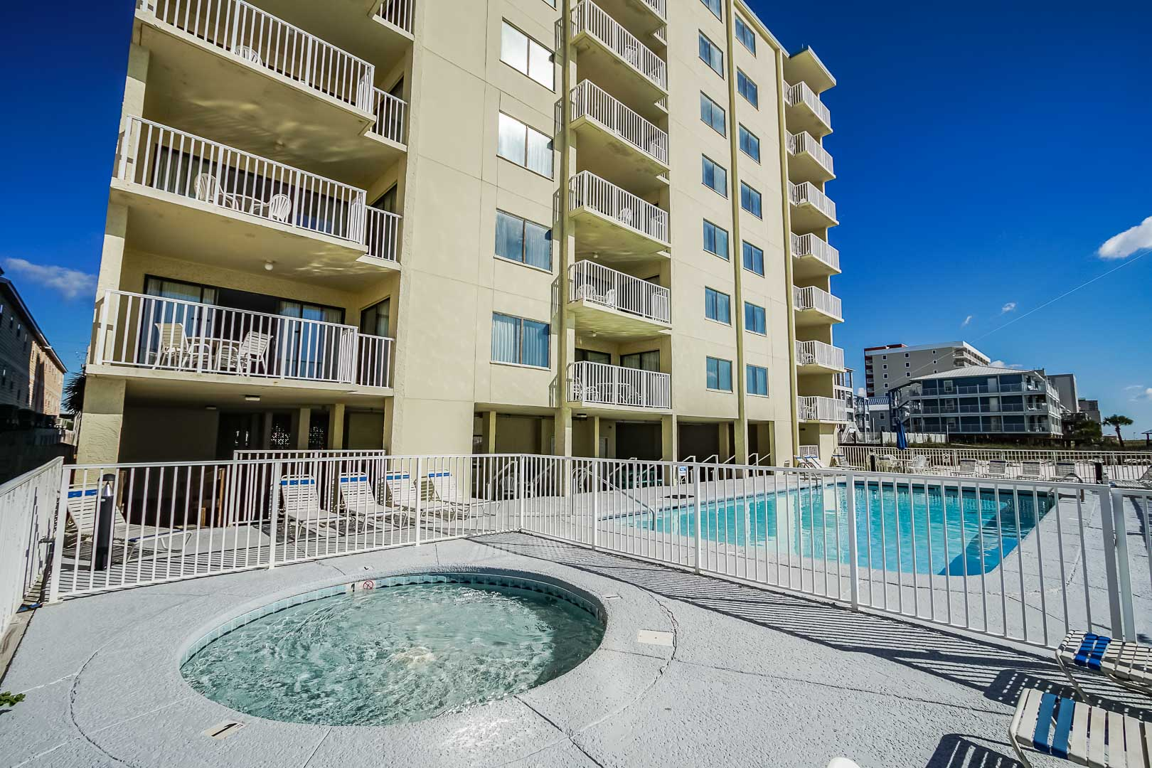 A view of the outside pool and Jacuzzi at VRI's Shoreline Towers in Gulf Shores, Alabama.