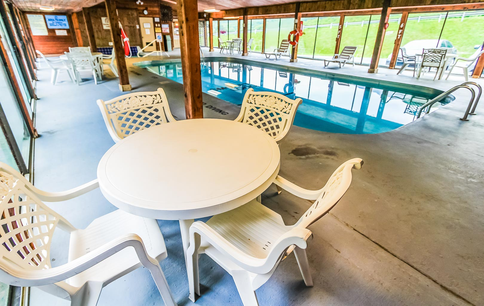 A relaxing indooe Jacuzzi and swimming pool at VRI's Smoketree Lodge in North Carolina.