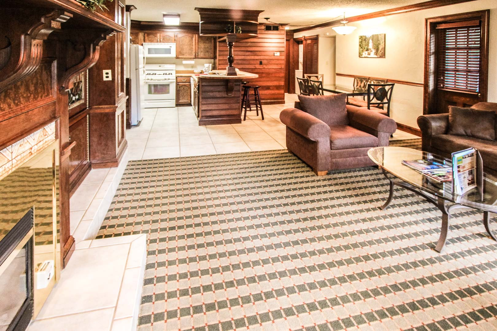 A spacious living room and kitchen at VRI's Sunburst Resort in Steamboat Springs, Colorado.