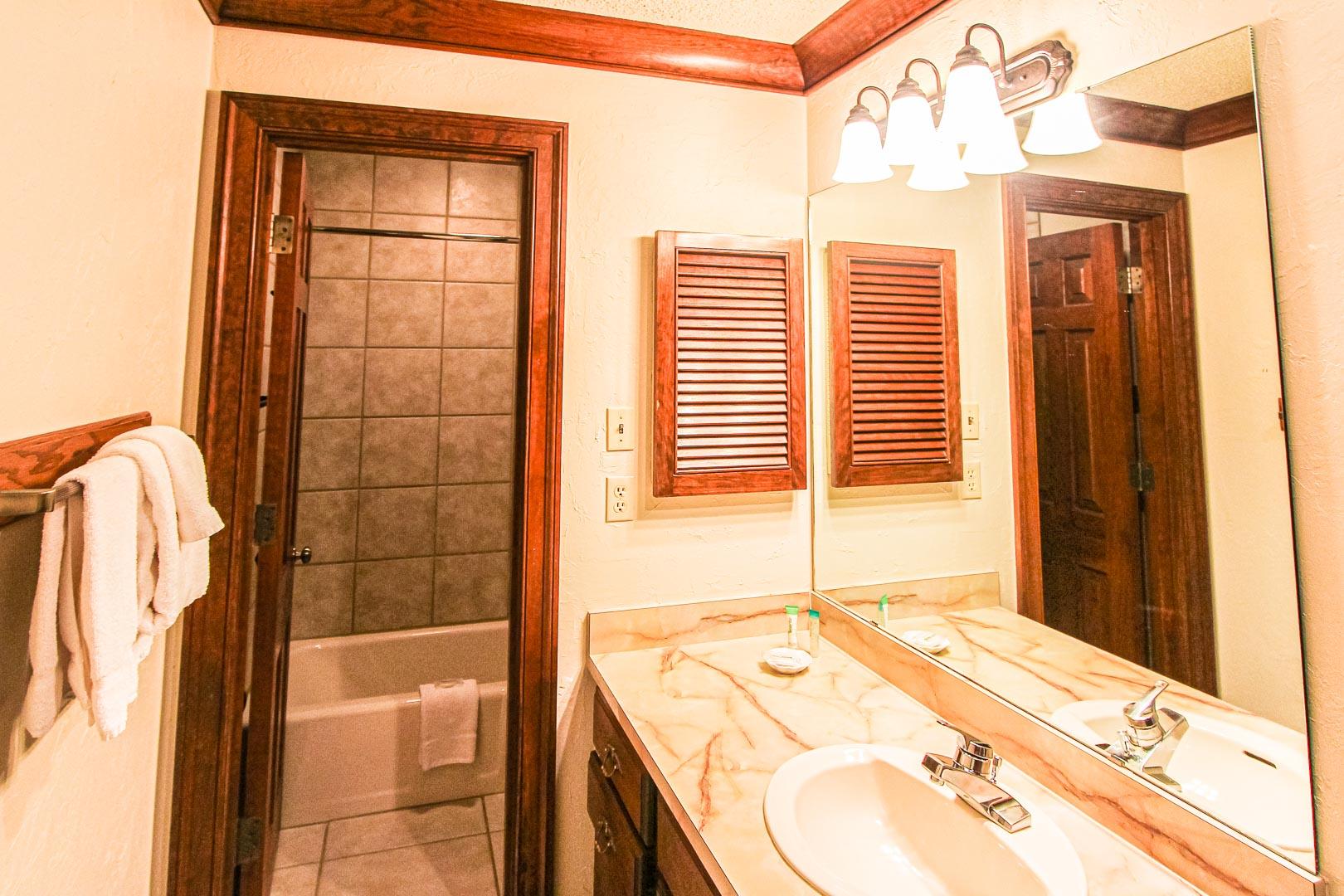 A clean bathroom at VRI's Sunburst Resort in Steamboat Springs, Colorado.