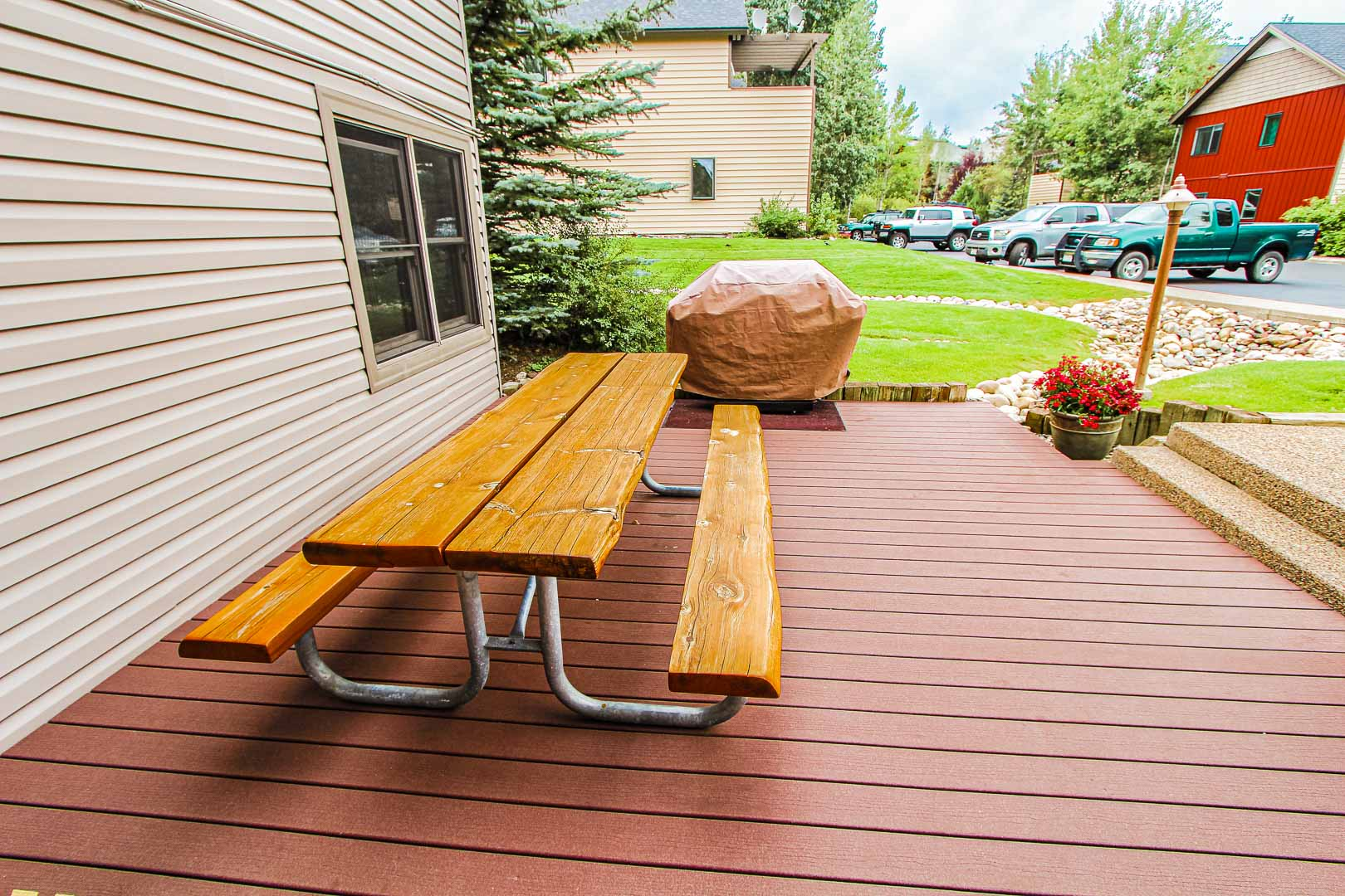 An outside bench area at VRI's Sunburst Resort in Steamboat Springs, Colorado.
