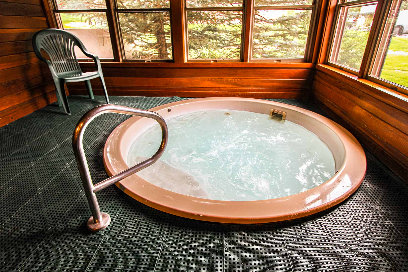 A cozy indoor Jacuzzi tub at VRI's Sunburst Resort in Steamboat Springs, Colorado.