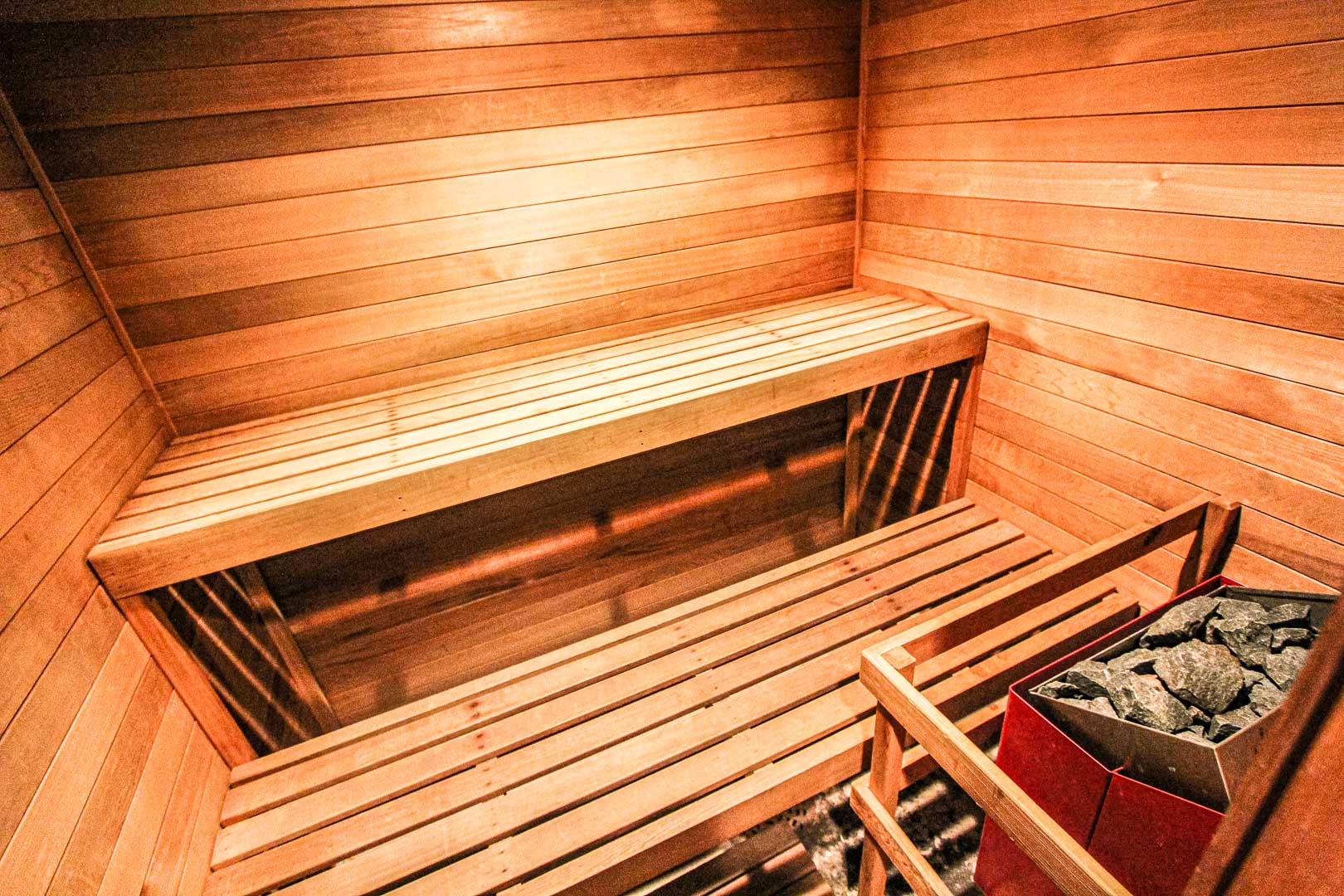 A relaxing sauna room at VRI's Sunburst Resort in Steamboat Springs, Colorado.