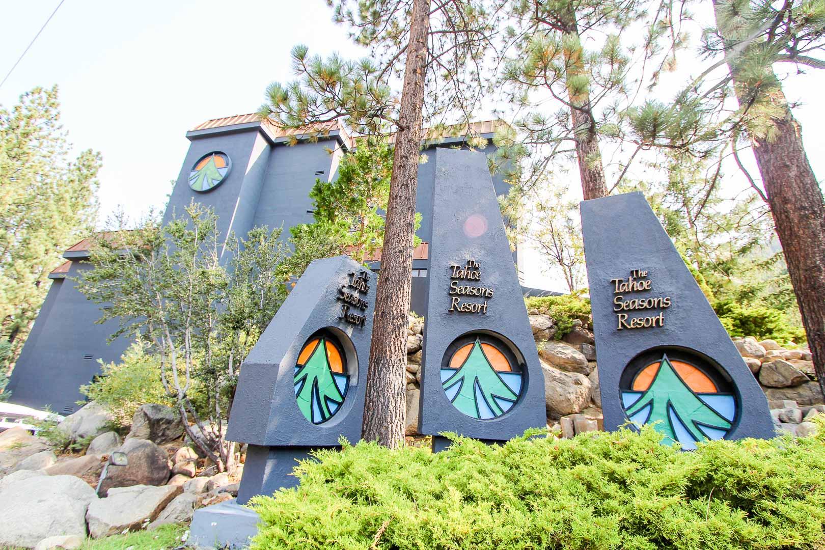 A stoic resort entrance at VRI's Tahoe Seasons Resort in California.