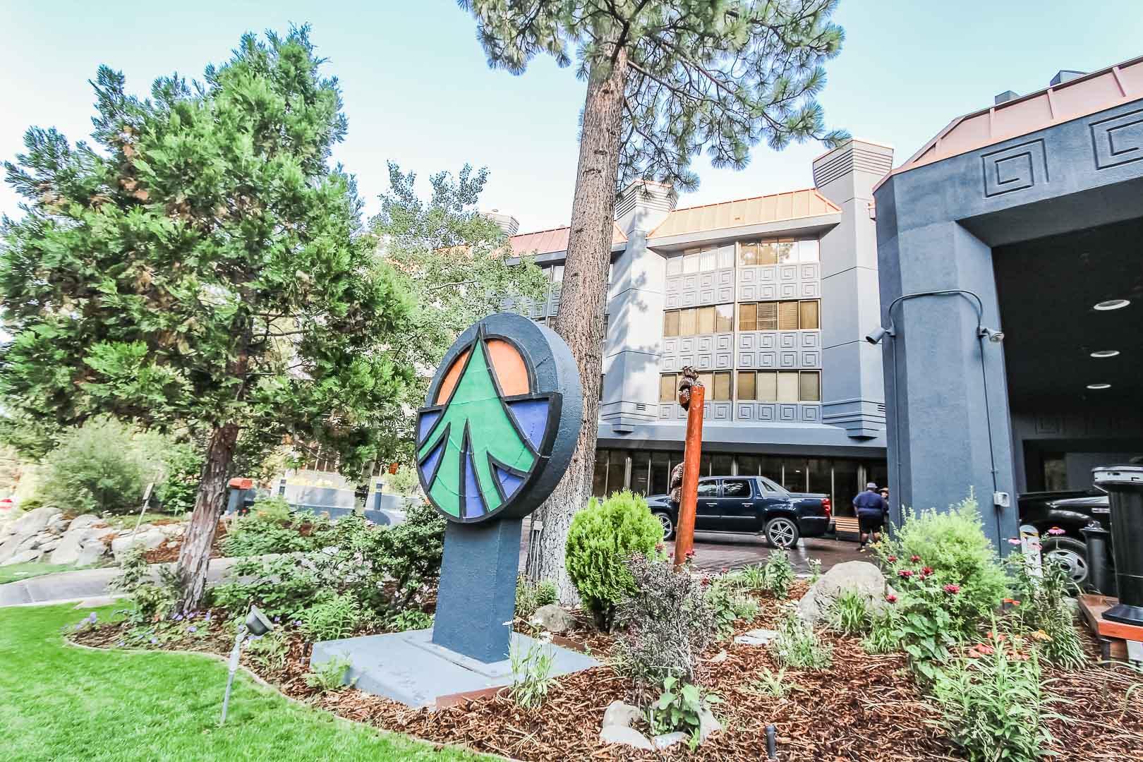 A vibrant resort signage at VRI's Tahoe Seasons Resort in California.
