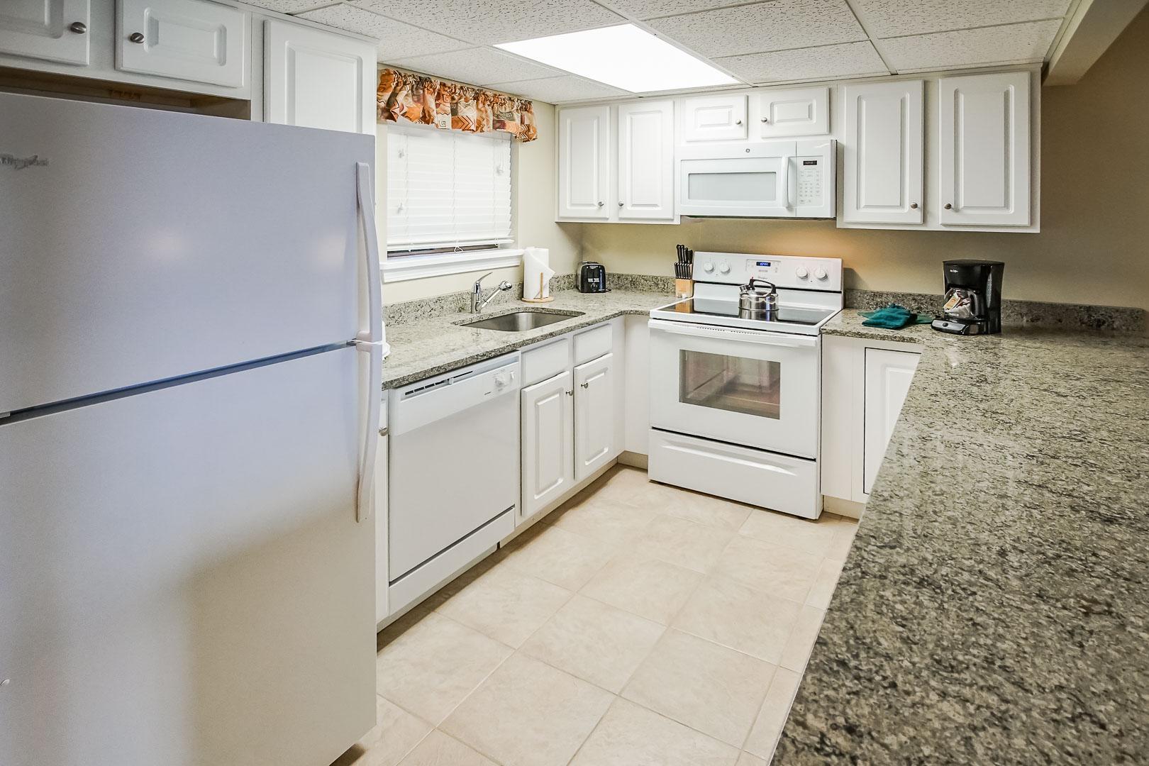 A spacious kitchen at VRI's Tanglwood Resort in Pennsylvania.