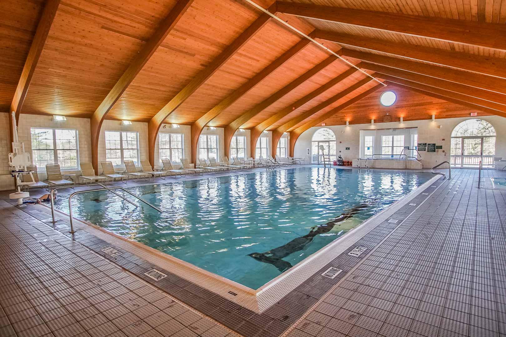 A refreshing indoor pool at VRI's Tanglwood Resort in Pennsylvania.