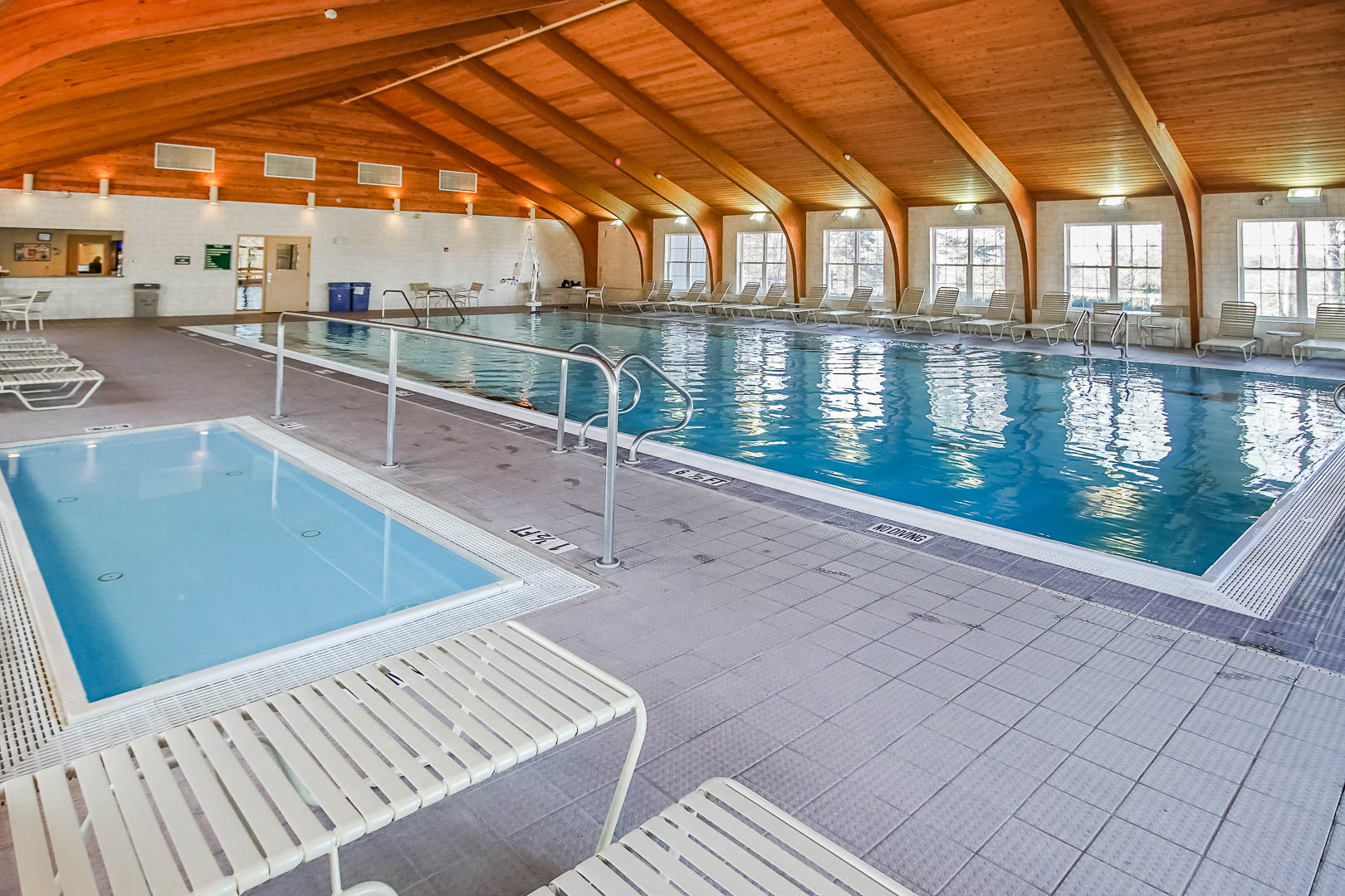 An expansive indoor pool at VRI's Tanglwood Resort in Pennsylvania.