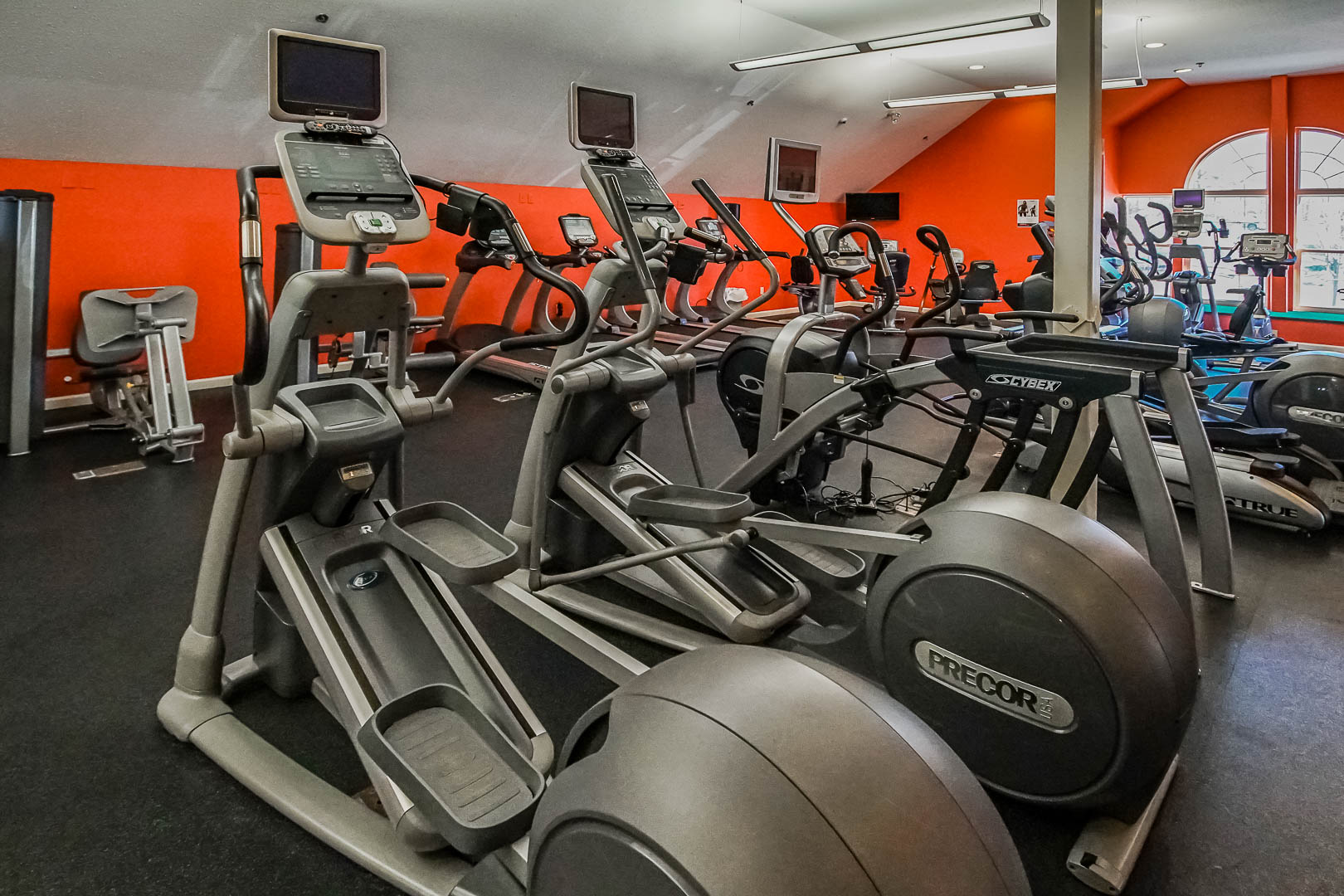 A modern exercise room at VRI's Tanglwood Resort in Pennsylvania.