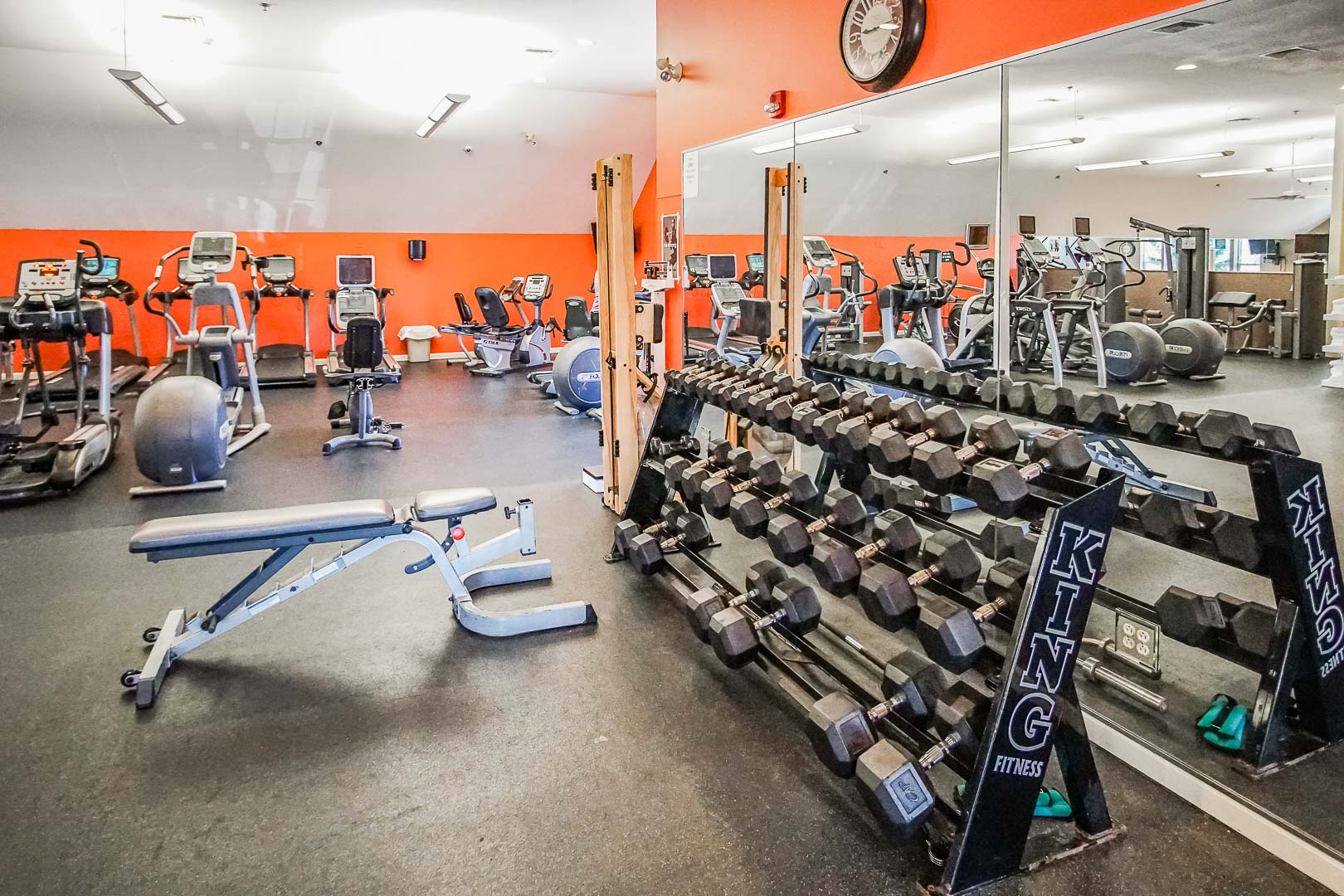 An expansive exercise room at VRI's Tanglwood Resort in Pennsylvania.