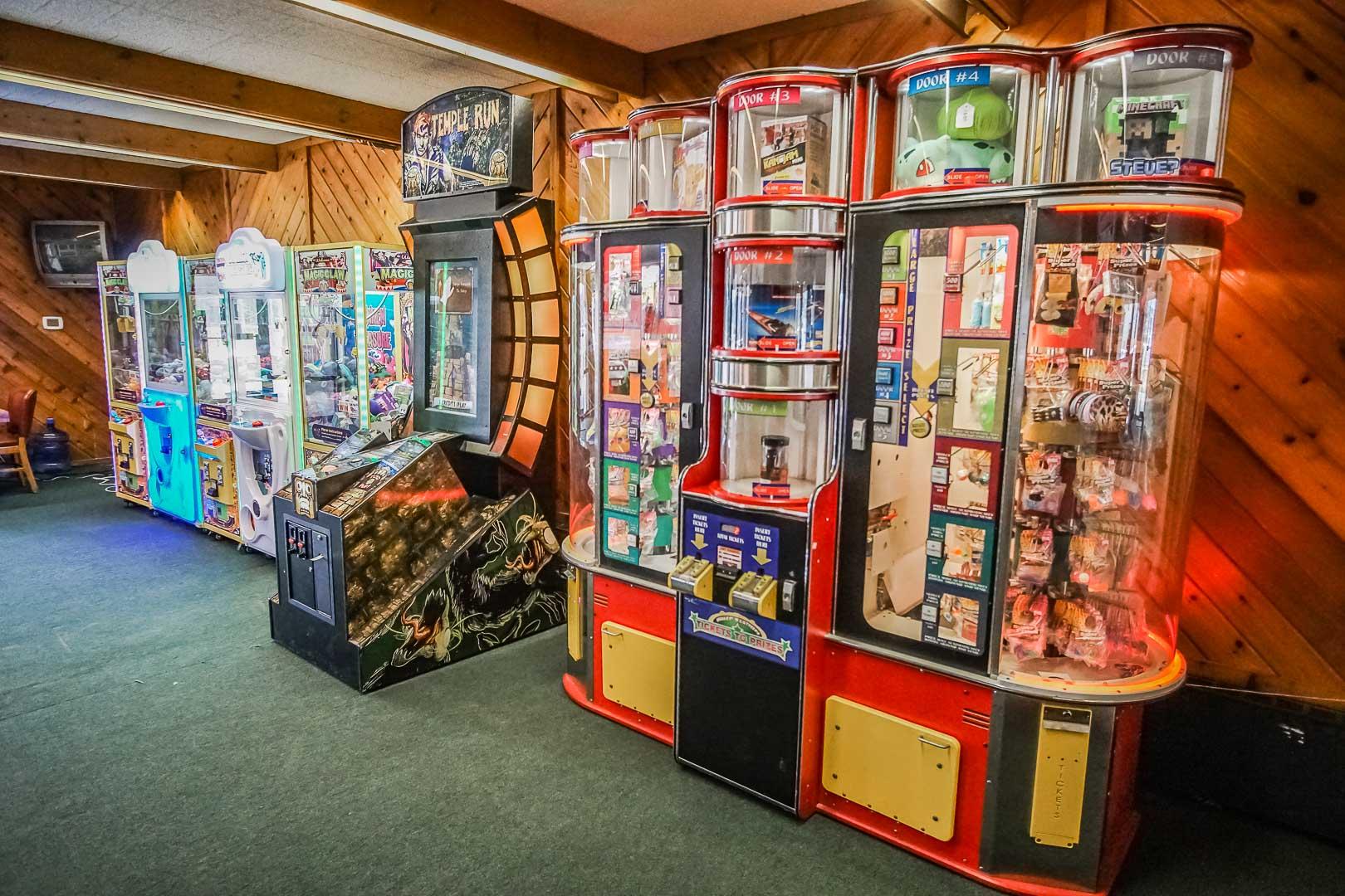 A colorful game room at VRI's Tanglwood Resort in Pennsylvania.