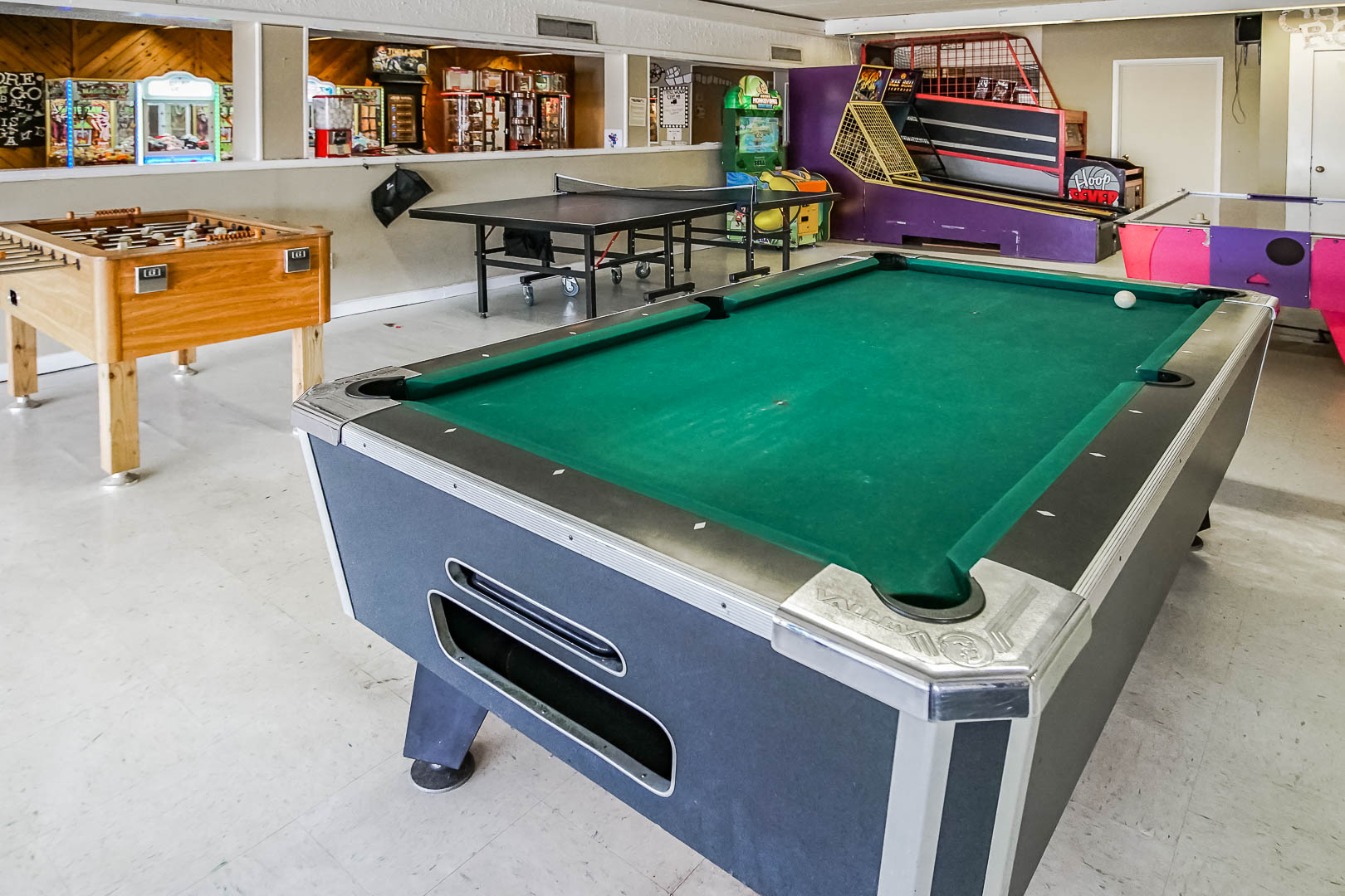 An expansive game room at VRI's Tanglwood Resort in Pennsylvania.