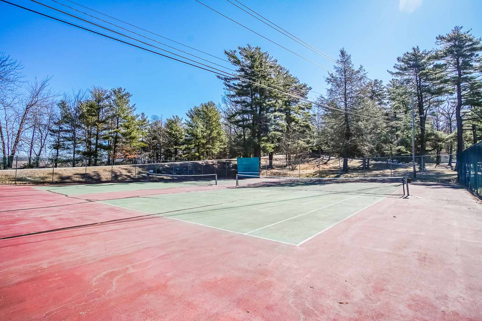 A n airy tennis court at VRI's Tanglwood Resort in Pennsylvania.