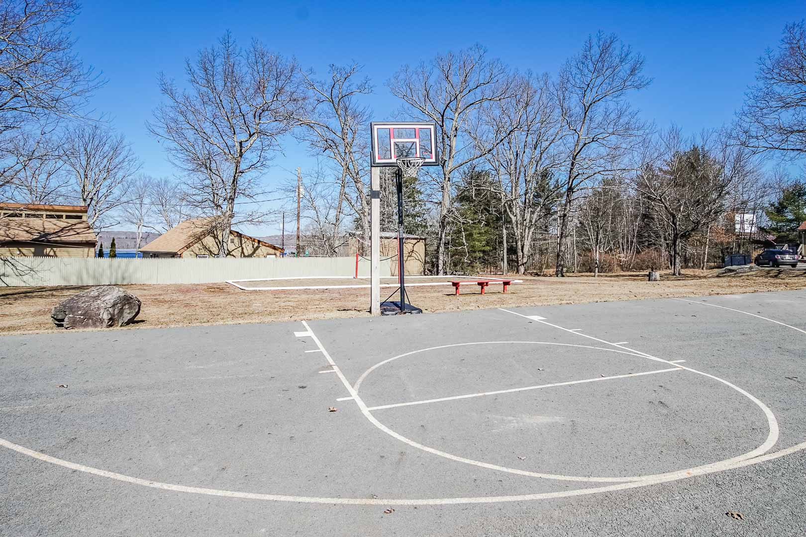 A spacious basketball court at VRI's Tanglwood Resort in Pennsylvania.