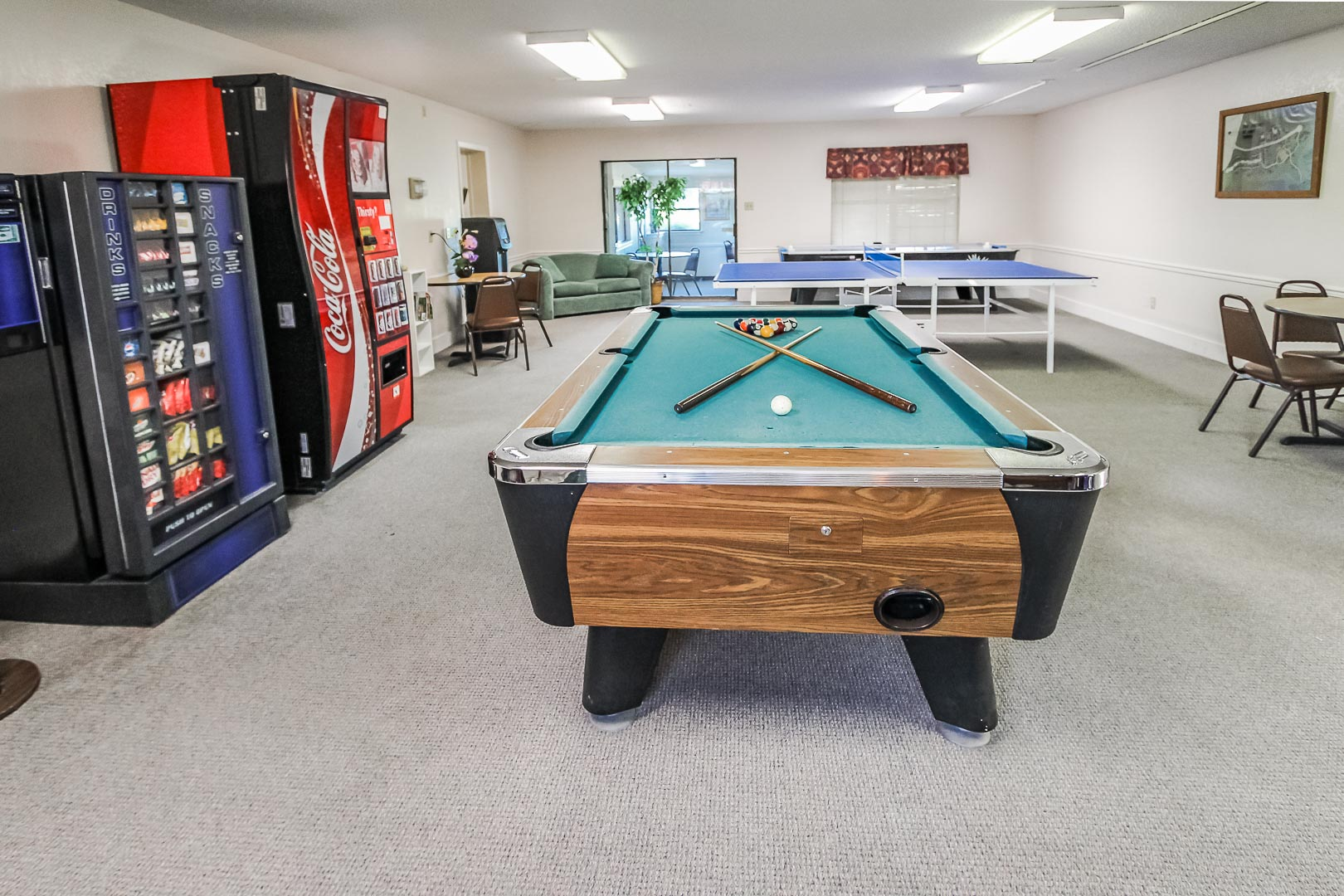 A vibrant game room at VRI's Vacation Village at Lake Travis in Texas.