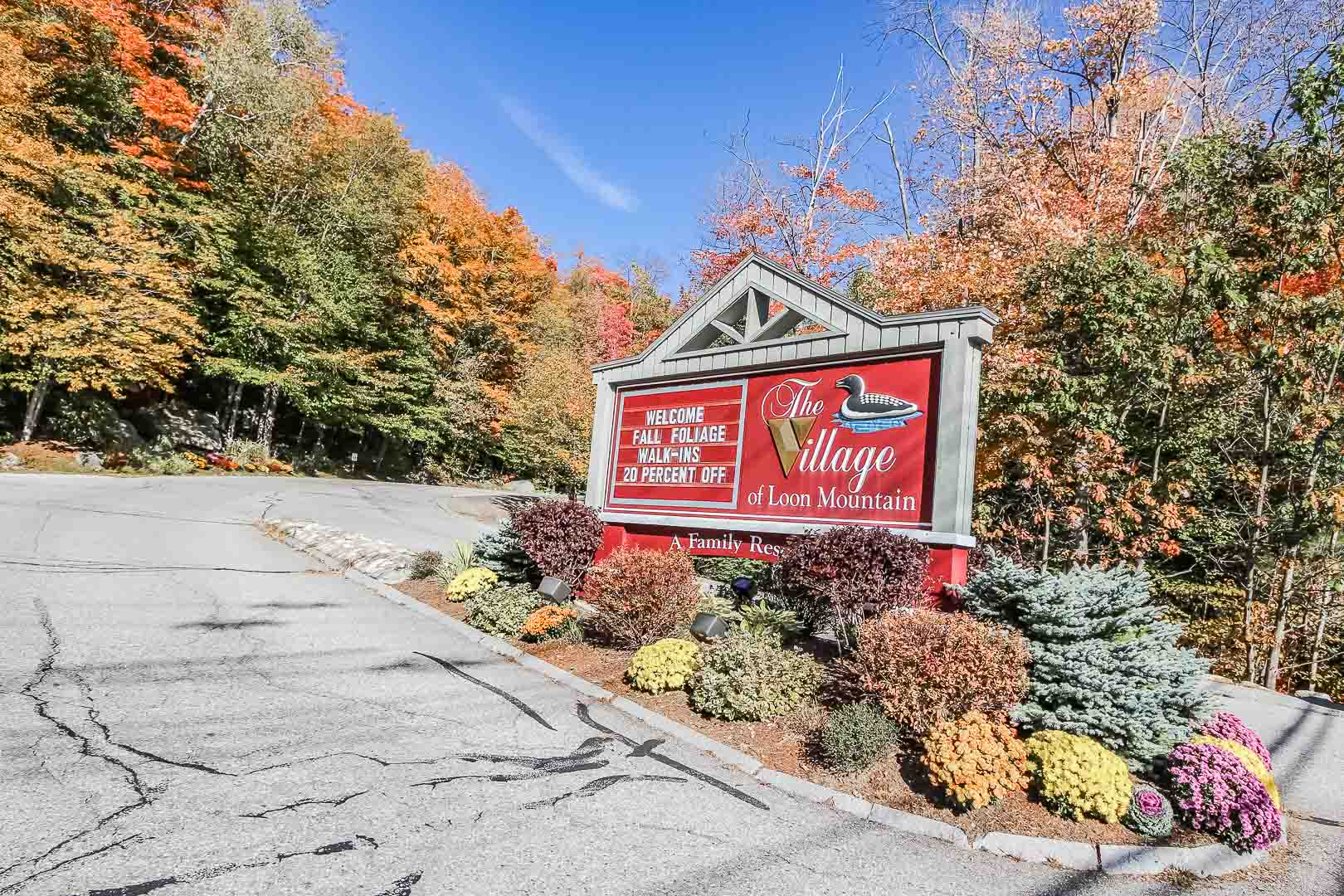 A welcoming resort entrance at VRI's Village of Loon Mountain in New Hampshire.