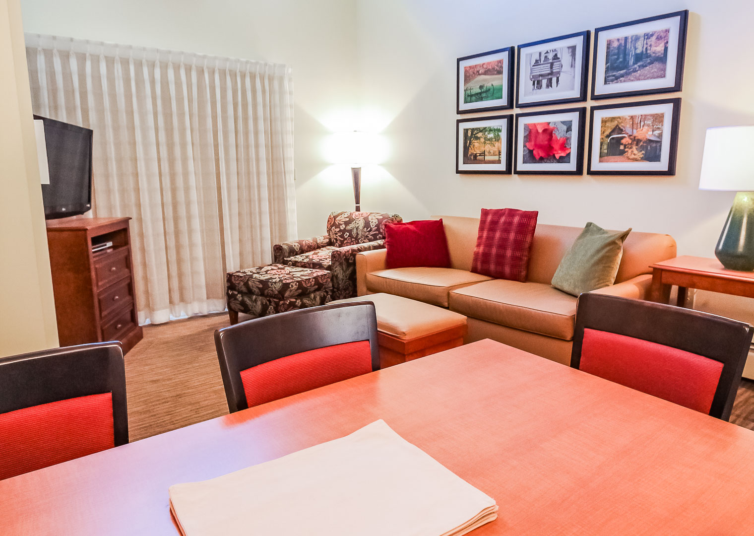 A renovated living room area at VRI's Village of Loon Mountain in New Hampshire.