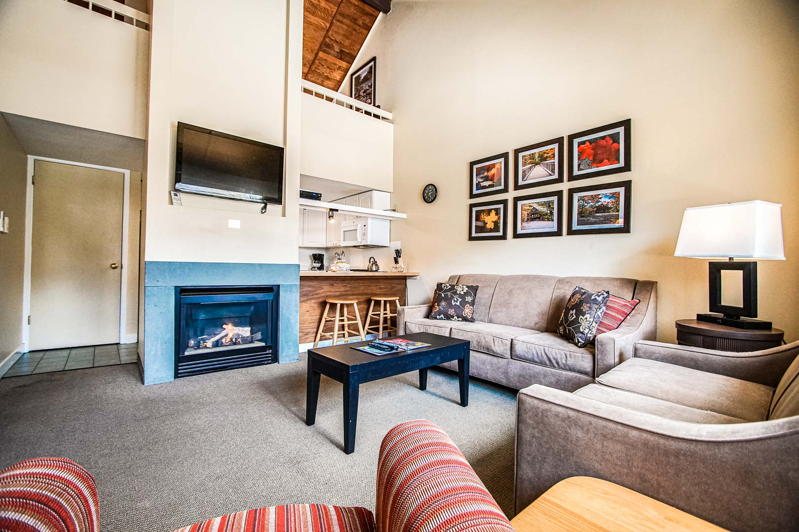 A spacious living room area at VRI's Village of Loon Mountain in New Hampshire.