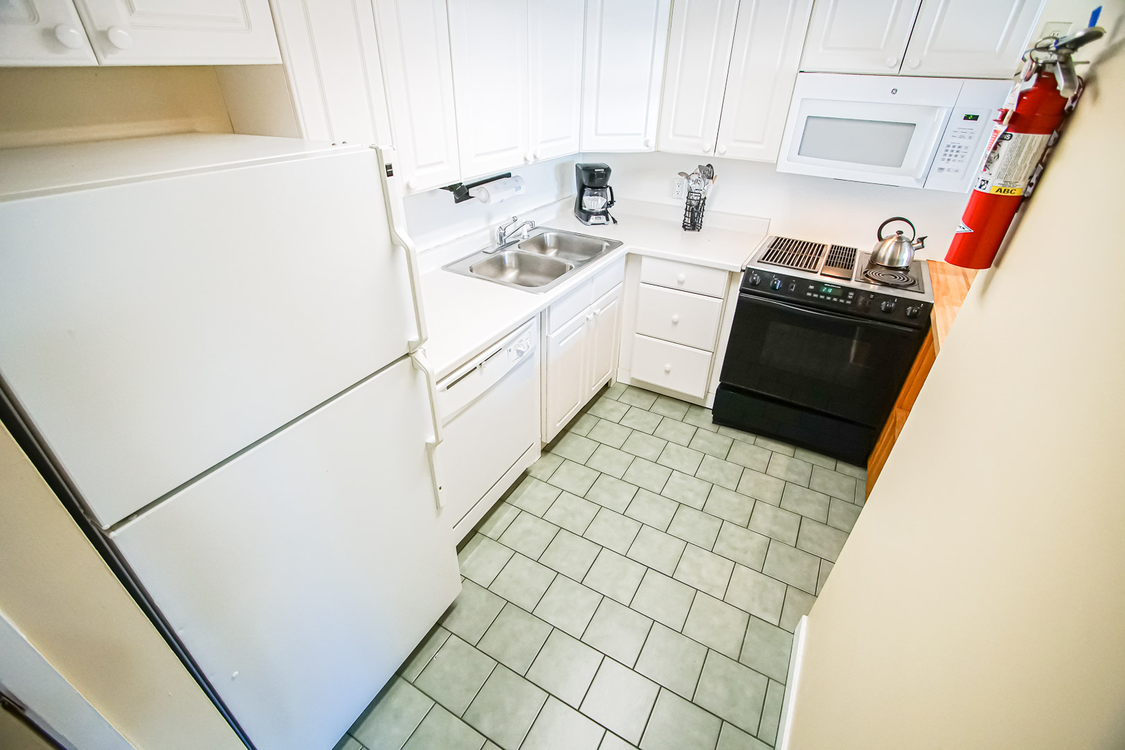 A clean kitchen area at VRI's Village of Loon Mountain in New Hampshire.